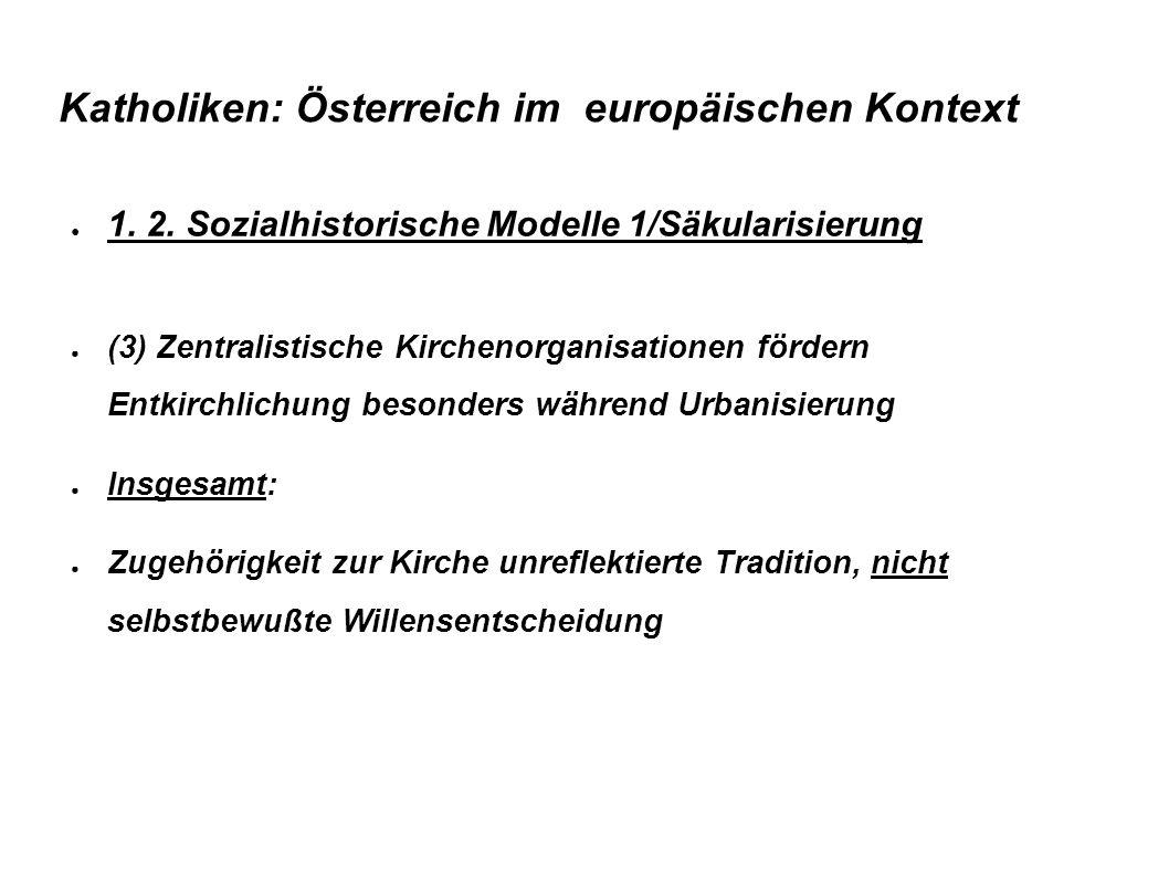 Katholiken: Österreich im europäischen Kontext ● 1. 2. Sozialhistorische Modelle 1/Säkularisierung ● (3) Zentralistische Kirchenorganisationen fördern