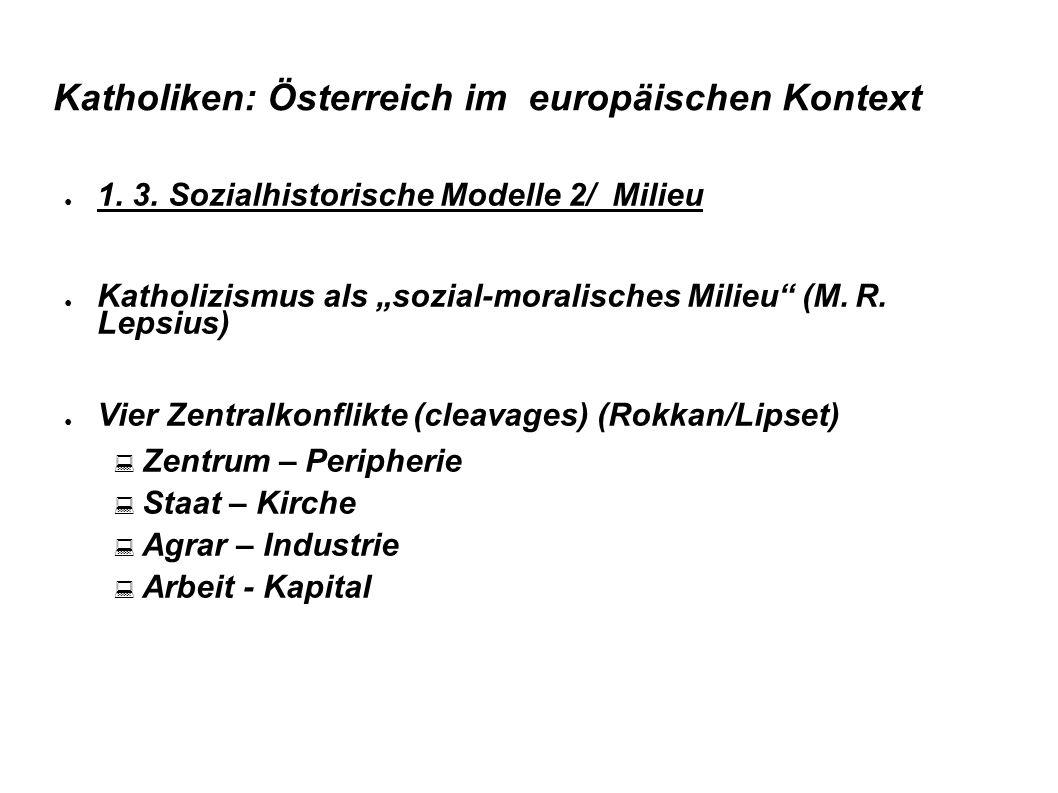 """Katholiken: Österreich im europäischen Kontext ● 1. 3. Sozialhistorische Modelle 2/ Milieu ● Katholizismus als """"sozial-moralisches Milieu"""" (M.R. Lepsi"""