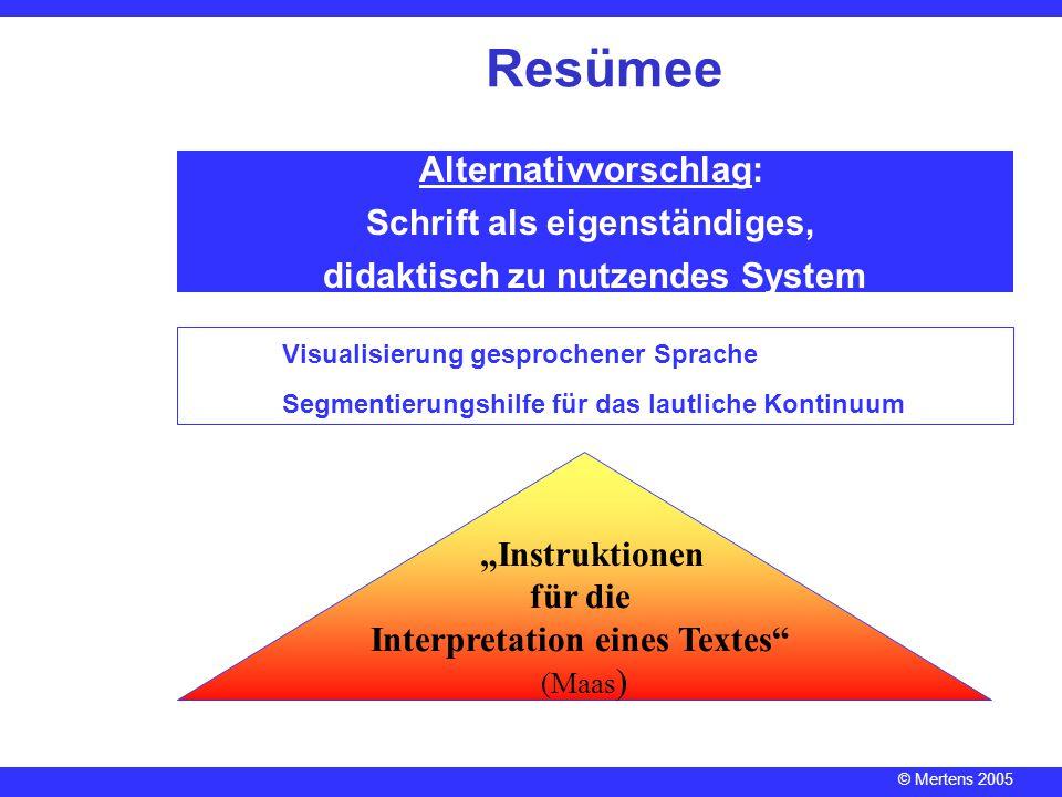 © Mertens 2005 Alternativvorschlag: Schrift als eigenständiges, didaktisch zu nutzendes System Resümee Visualisierung gesprochener Sprache Segmentieru