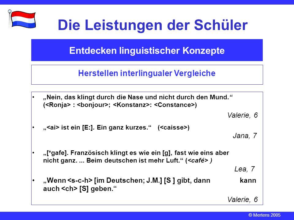 """© Mertens 2005 Entdecken linguistischer Konzepte Die Leistungen der Schüler Herstellen interlingualer Vergleiche """" ist ein [E:]. Ein ganz kurzes."""" ( )"""