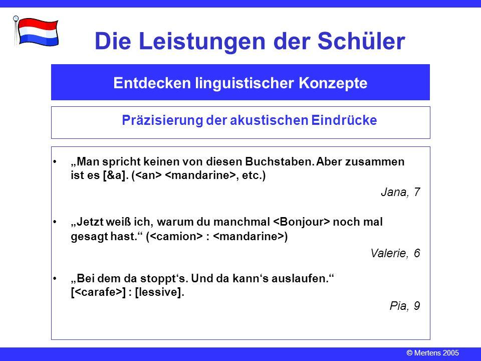 """© Mertens 2005 Entdecken linguistischer Konzepte Die Leistungen der Schüler Präzisierung der akustischen Eindrücke """"Man spricht keinen von diesen Buch"""