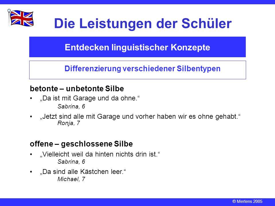 """© Mertens 2005 Entdecken linguistischer Konzepte Die Leistungen der Schüler Differenzierung verschiedener Silbentypen betonte – unbetonte Silbe """"Da is"""