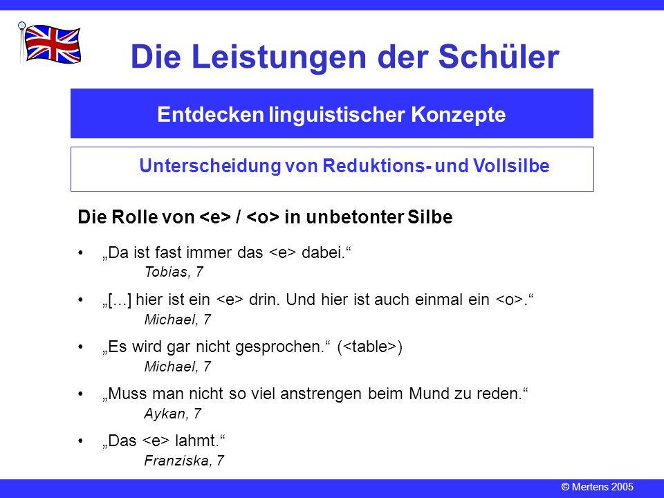 © Mertens 2005 Entdecken linguistischer Konzepte Die Leistungen der Schüler Unterscheidung von Reduktions- und Vollsilbe Die Rolle von / in unbetonter