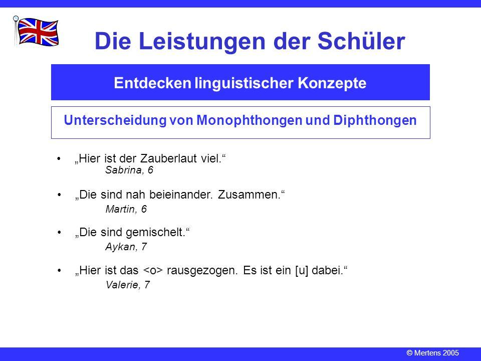"""© Mertens 2005 Entdecken linguistischer Konzepte Die Leistungen der Schüler Unterscheidung von Monophthongen und Diphthongen """"Hier ist der Zauberlaut"""