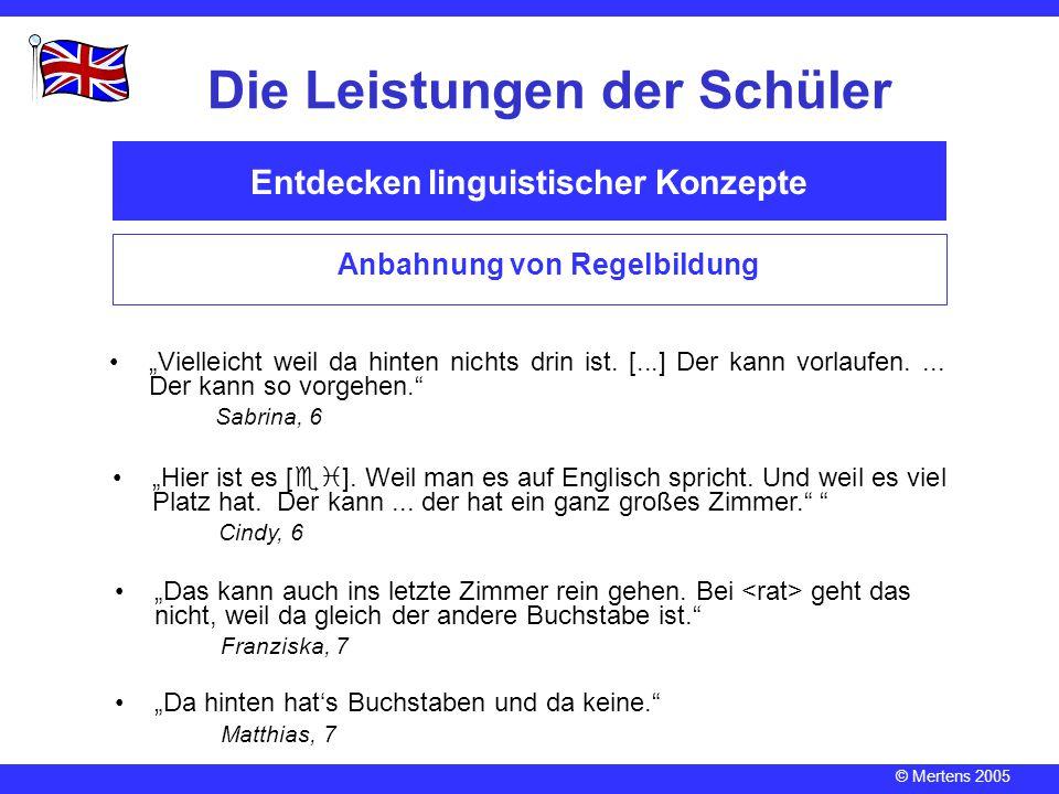 """© Mertens 2005 Entdecken linguistischer Konzepte Die Leistungen der Schüler Anbahnung von Regelbildung """"Vielleicht weil da hinten nichts drin ist. [.."""