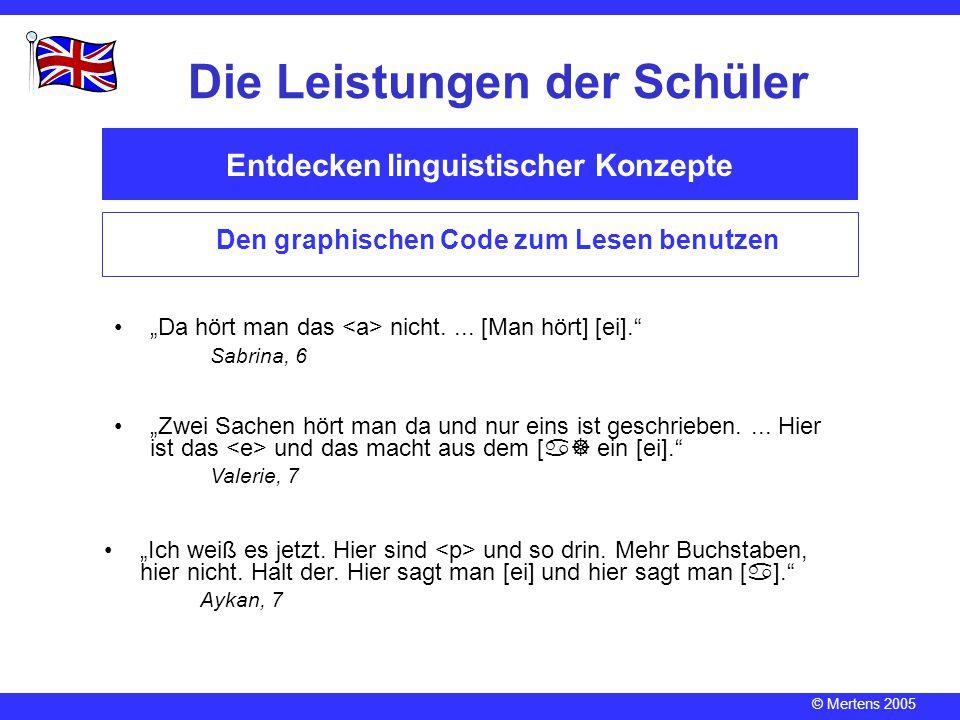 """© Mertens 2005 Entdecken linguistischer Konzepte Die Leistungen der Schüler Den graphischen Code zum Lesen benutzen """"Da hört man das nicht.... [Man hö"""