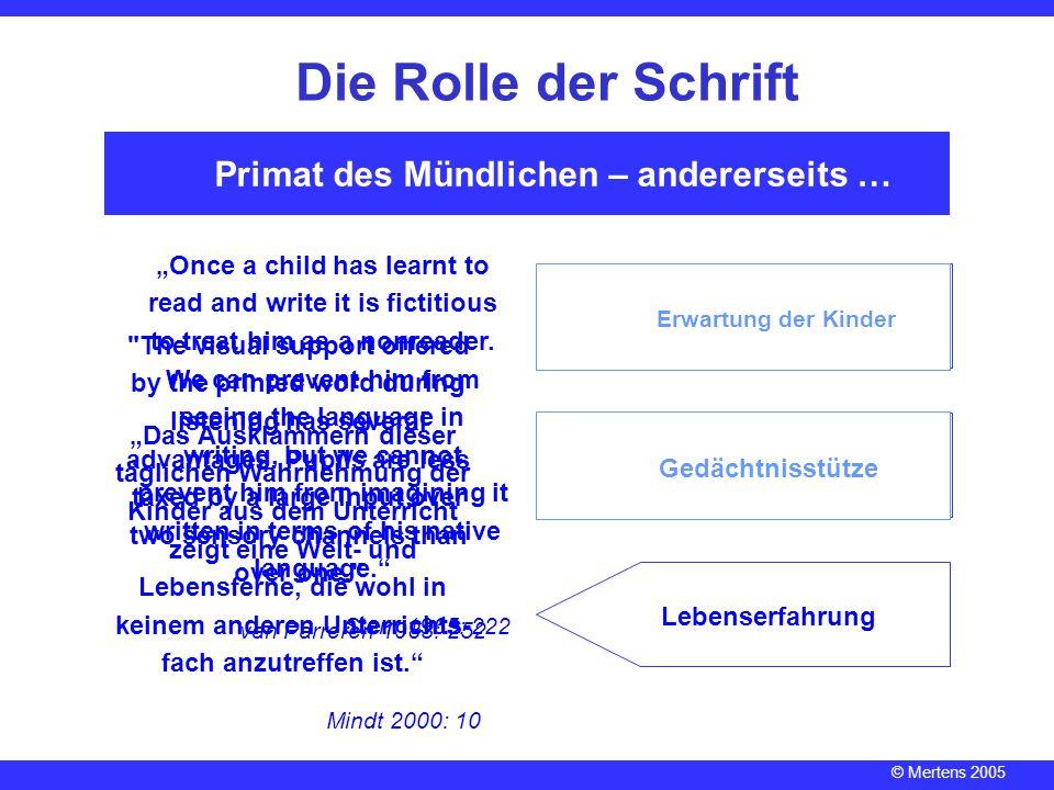 © Mertens 2005 Vom Status quo … Die Rolle der Schrift Sprachbad Ganzheitsmethode Lernen = Memorisieren Schreiben = Abschreiben