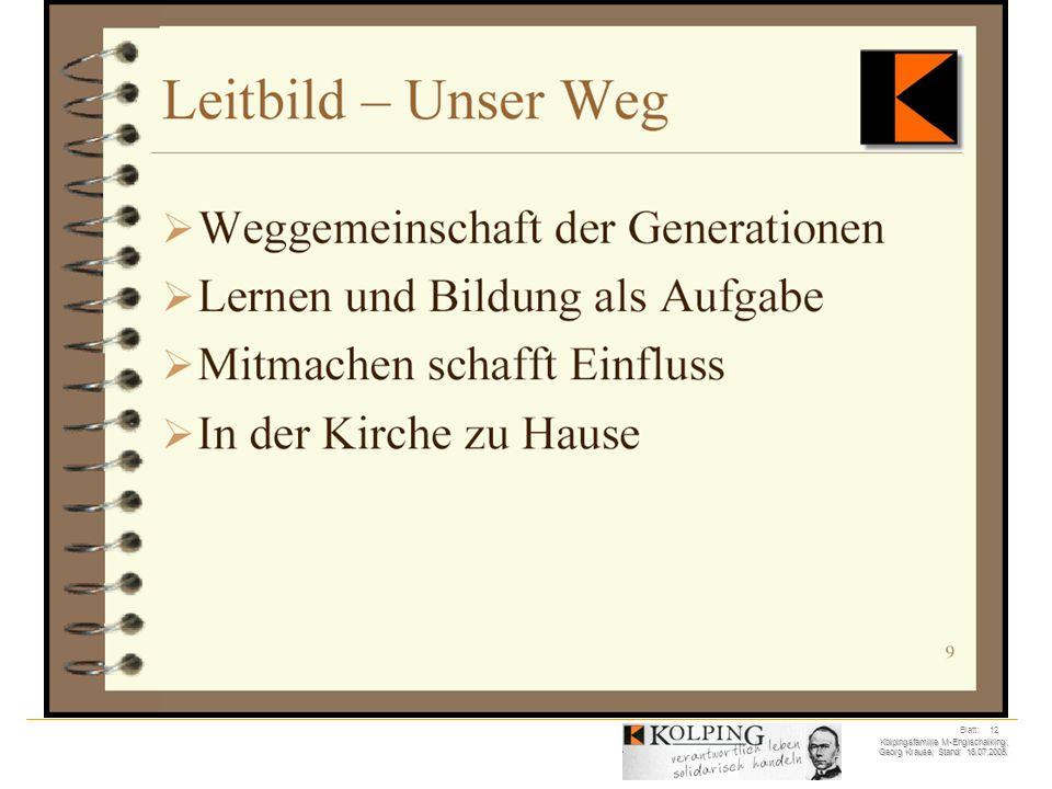 Kolpingsfamilie M-Englschalking; Georg Krause; Stand: 18.07.2005. Blatt: 12