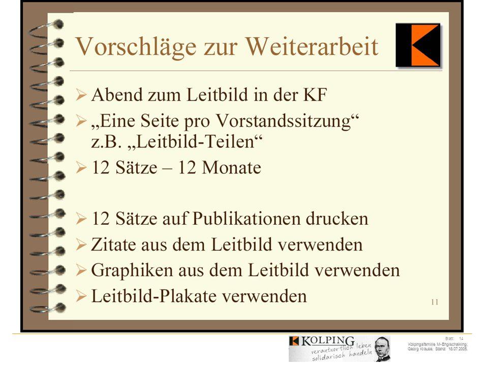 Kolpingsfamilie M-Englschalking; Georg Krause; Stand: 18.07.2005. Blatt: 14