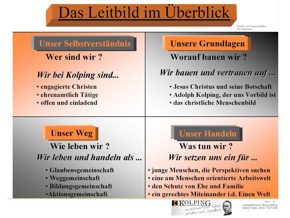 Kolpingsfamilie M-Englschalking; Georg Krause; Stand: 18.07.2005. Blatt: 15