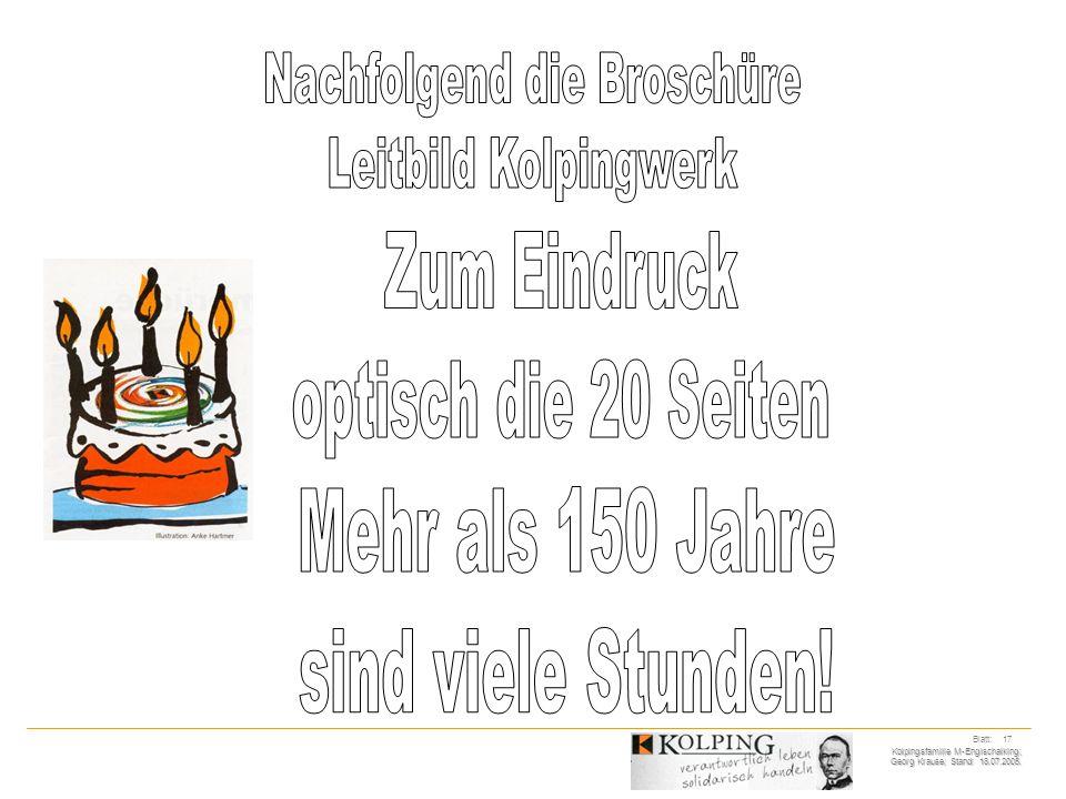 Kolpingsfamilie M-Englschalking; Georg Krause; Stand: 18.07.2005. Blatt: 17