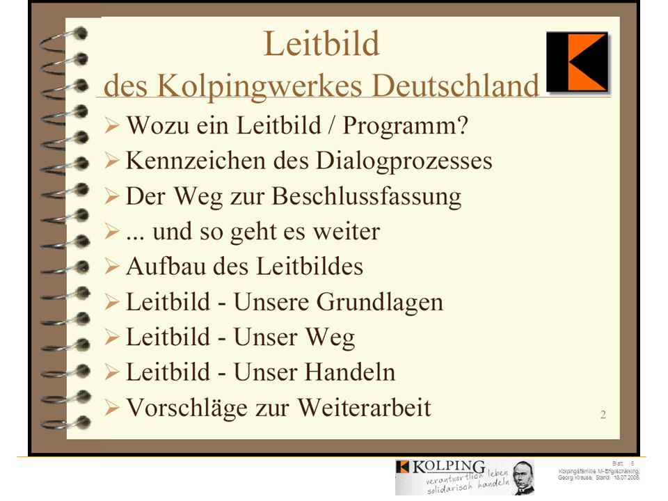 Kolpingsfamilie M-Englschalking; Georg Krause; Stand: 18.07.2005. Blatt: 27