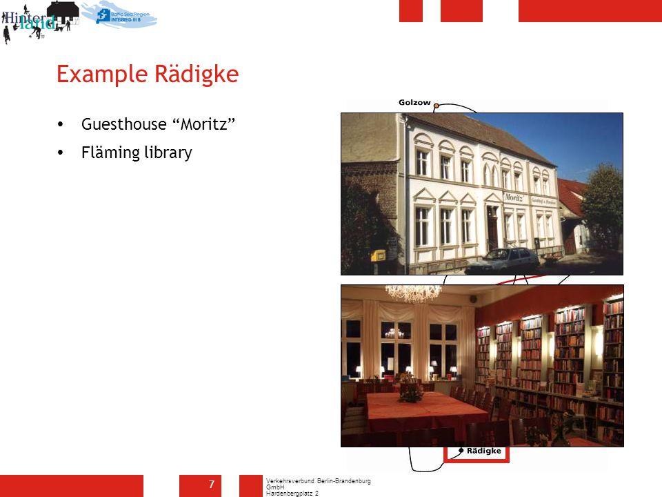 Verkehrsverbund Berlin-Brandenburg GmbH Hardenbergplatz 2 10623 Berlin 7 Example Rädigke  Guesthouse Moritz  Fläming library