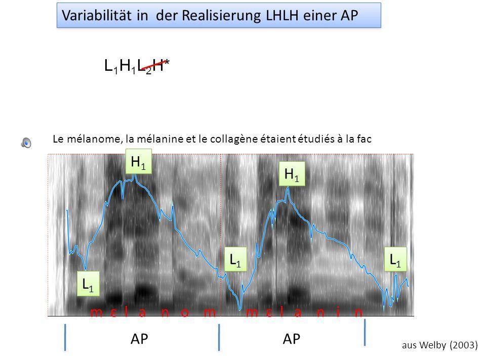 la limonade AP aus Welby (2003) La grenadine, la limonade et l'Orangina ont été versés par Anna. L1L1 L1L1 H1H1 H1H1 H* Variabilität in der Realisieru
