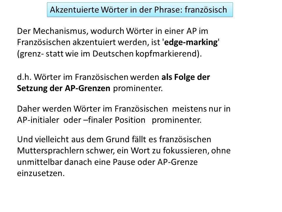 Der Mechanismus, wodurch deutsche Wörter in einer ip akzentuiert werden, ist head-marking oder kumulativ.