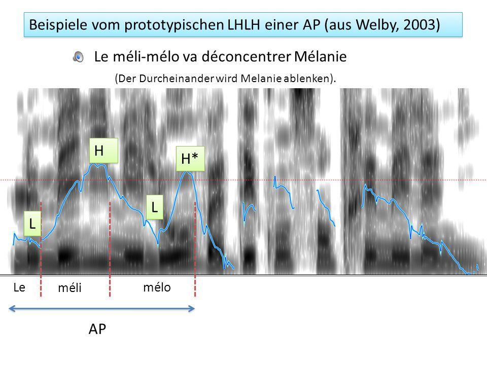 Assoziation der LHLH Töne einer AP: der zweite LH le méli-mélo L 1 H 1 L 2 H 2 AP Regel: Finaler AP-Ton wird zu einem Tonakzent durch die segmentelle