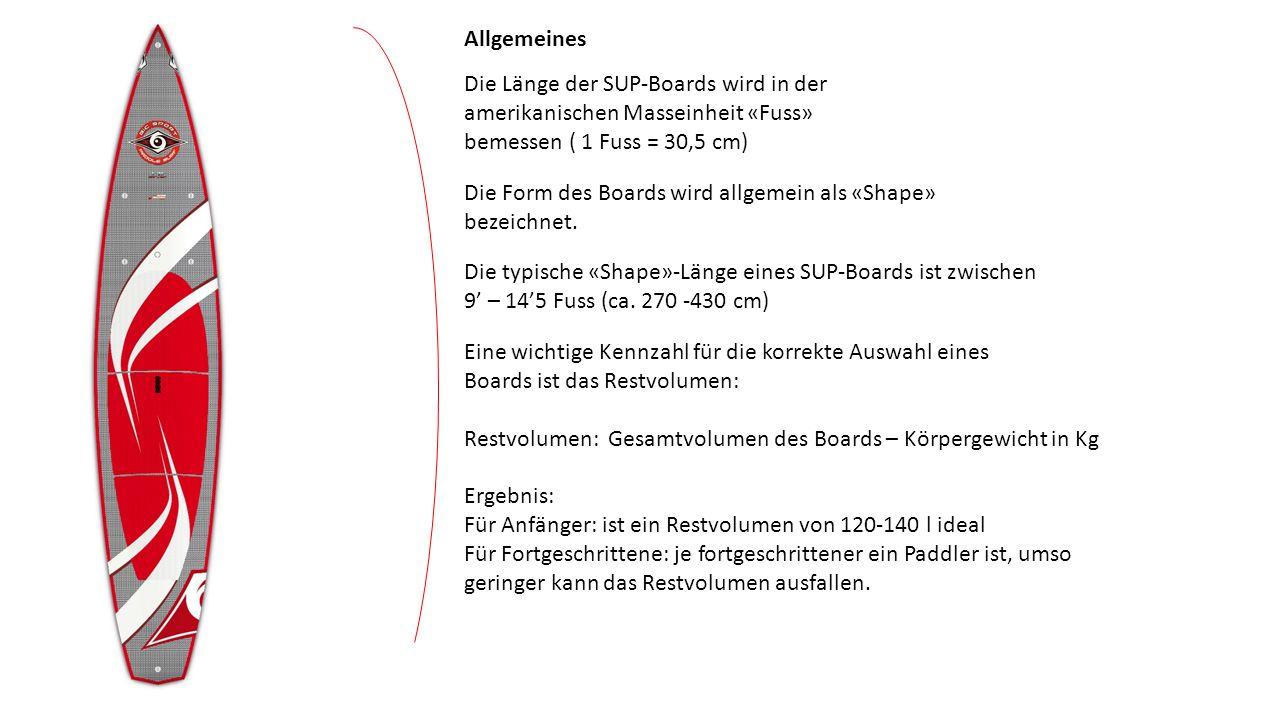 Je länger die «Wasserlinie» des Board ist, umso schneller und «spurtreuer» ist das Board.