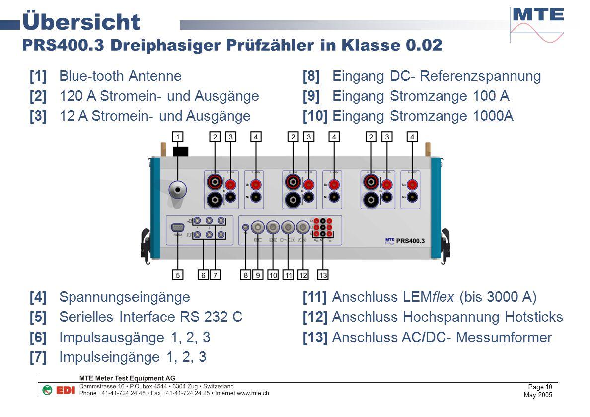 Page 10 May 2005 Übersicht PRS400.3 Dreiphasiger Prüfzähler in Klasse 0.02 [1]Blue-tooth Antenne [8]Eingang DC- Referenzspannung [2]120 A Stromein- un