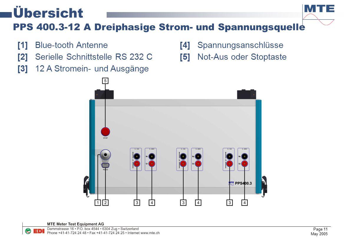 Page 11 May 2005 Übersicht PPS 400.3-12 A Dreiphasige Strom- und Spannungsquelle [1]Blue-tooth Antenne [4]Spannungsanschlüsse [2]Serielle Schnittstell