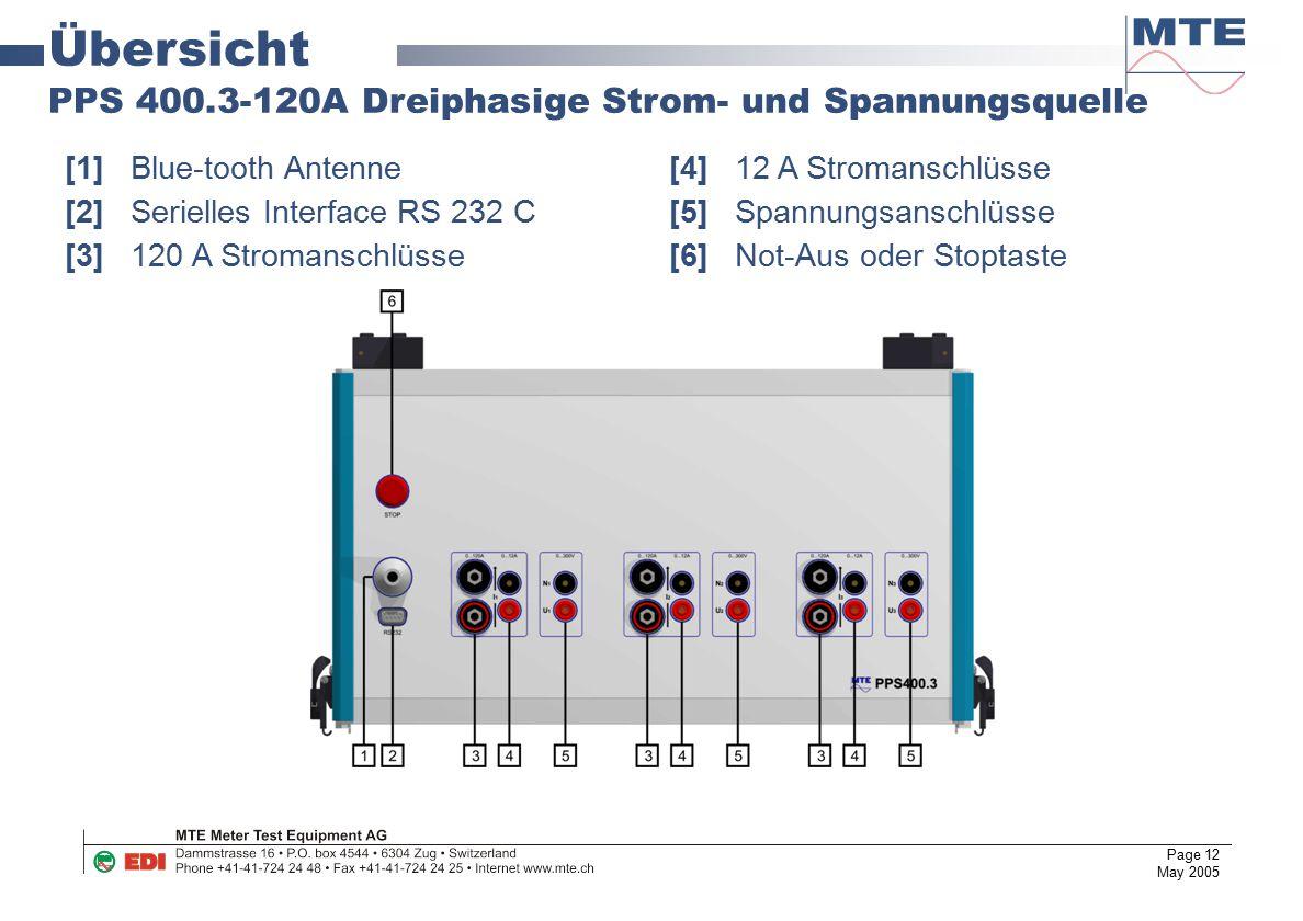 Page 12 May 2005 Übersicht PPS 400.3-120A Dreiphasige Strom- und Spannungsquelle [1]Blue-tooth Antenne [4]12 A Stromanschlüsse [2]Serielles Interface