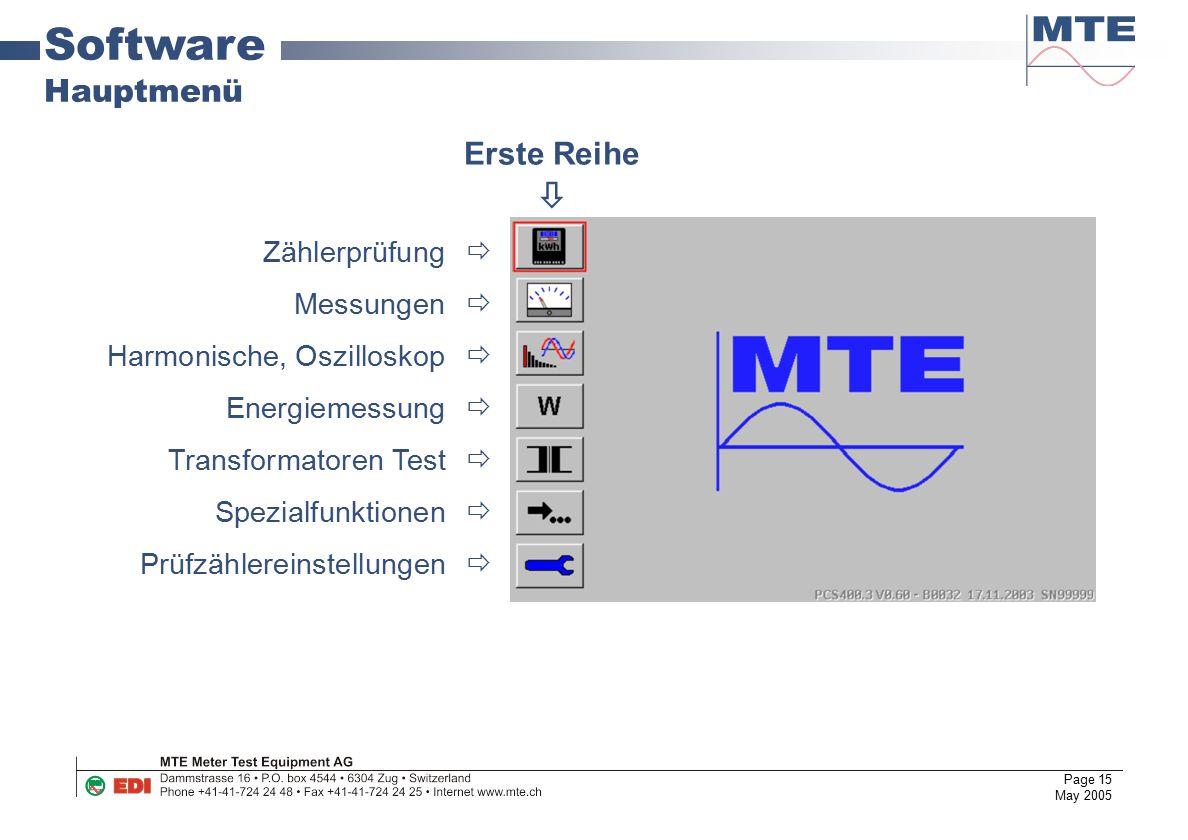Page 15 May 2005 Software Hauptmenü Zählerprüfung  Messungen  Harmonische, Oszilloskop  Energiemessung  Transformatoren Test  Spezialfunktionen 
