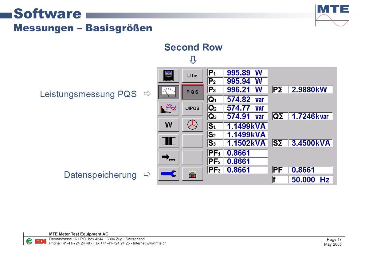 Page 17 May 2005 Software Messungen – Basisgrößen Leistungsmessung PQS  Datenspeicherung  Second Row 