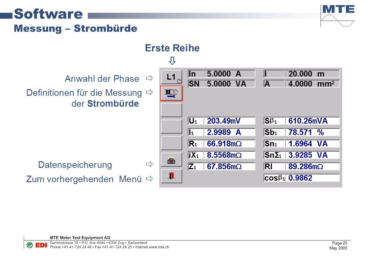 Page 25 May 2005 Software Messung – Strombürde Anwahl der Phase  Definitionen für die Messung  der Strombürde Datenspeicherung  Zum vorhergehenden
