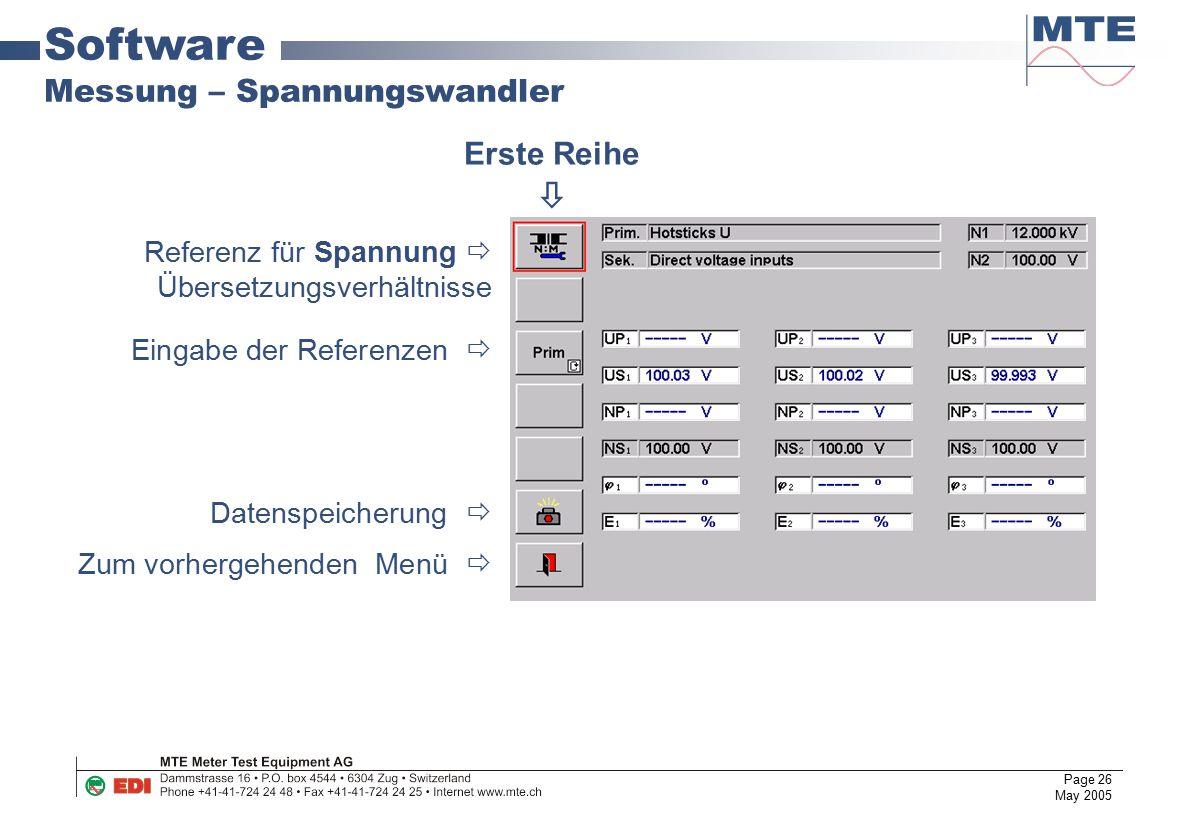 Page 26 May 2005 Software Messung – Spannungswandler Referenz für Spannung  Übersetzungsverhältnisse Eingabe der Referenzen  Datenspeicherung  Zum
