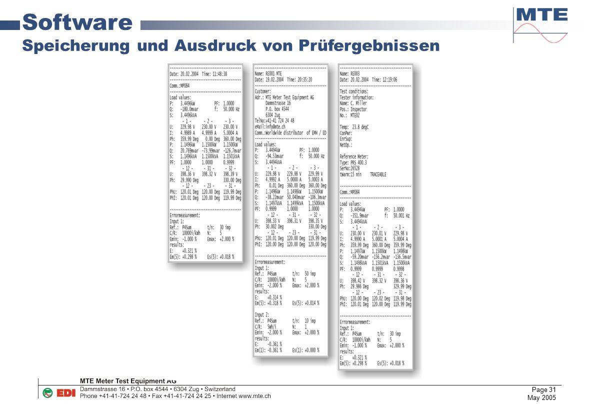 Page 31 May 2005 Software Speicherung und Ausdruck von Prüfergebnissen