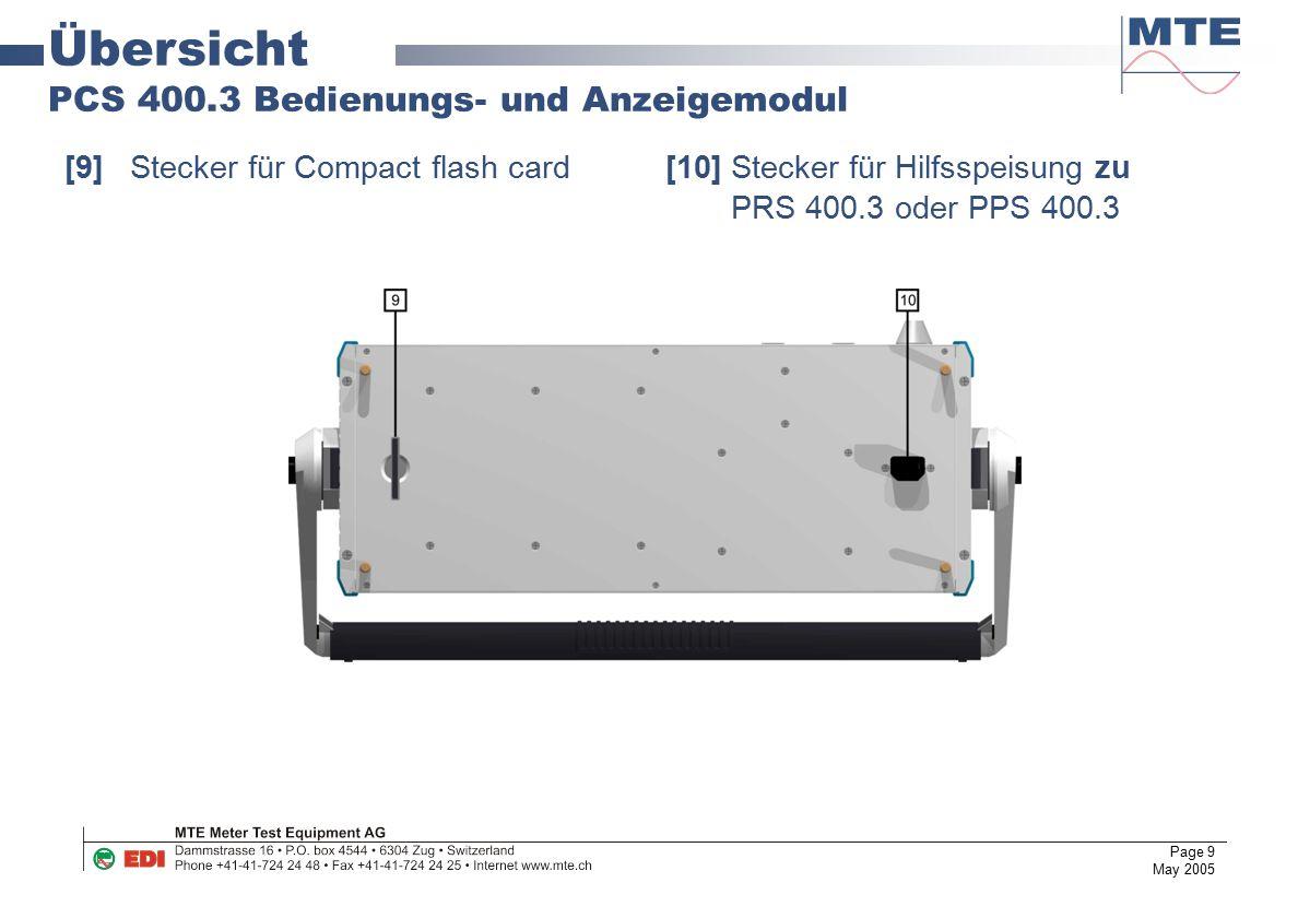 Page 9 May 2005 Übersicht PCS 400.3 Bedienungs- und Anzeigemodul [9]Stecker für Compact flash card [10]Stecker für Hilfsspeisung zu PRS 400.3 oder PPS