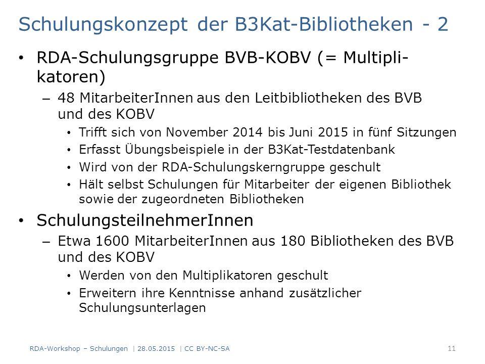 Schulungskonzept der B3Kat-Bibliotheken - 2 RDA-Schulungsgruppe BVB-KOBV (= Multipli- katoren) – 48 MitarbeiterInnen aus den Leitbibliotheken des BVB