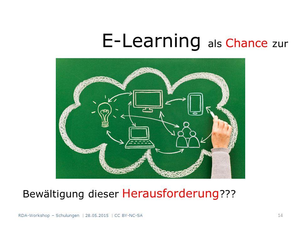 E-Learning als Chance zur Bewältigung dieser Herausforderung ??? RDA-Workshop – Schulungen | 28.05.2015 | CC BY-NC-SA 14