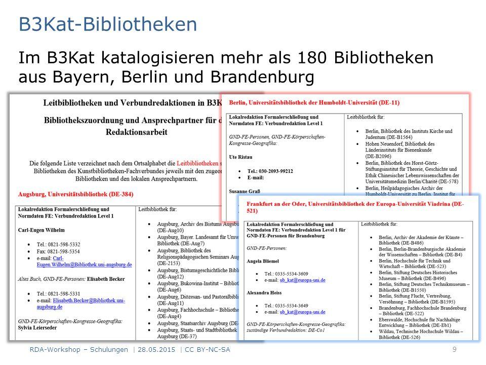 Schulungskonzept der B3Kat-Bibliotheken - 1 RDA-Schulungskerngruppe – Sieben MitarbeiterInnen aus der Bayerischen Staats- bibliothek, der UB Erlangen- Nürnberg und der UB München Bereitet Sitzungen vor Überträgt in Zusammenarbeit mit den Aleph-Verbünden die Schulungsunterlagen in das Aleph-Erfassungsformat Wählt die Schulungsunterlagen für die Multiplikatoren- schulungen aus Führt die Multiplikatoren- schulungen durch RDA-Workshop – Schulungen   28.05.2015   CC BY-NC-SA 10 http://www.bib- bvb.de/web/kkb-online/82