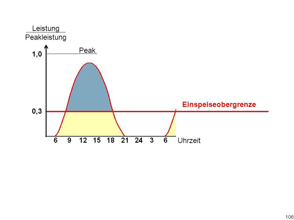Peak Leistung Peakleistung 1,0 0,3 Uhrzeit 106 Einspeiseobergrenze
