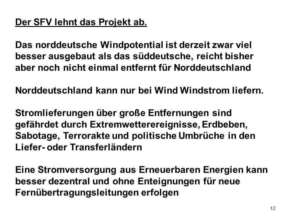 12 Der SFV lehnt das Projekt ab.