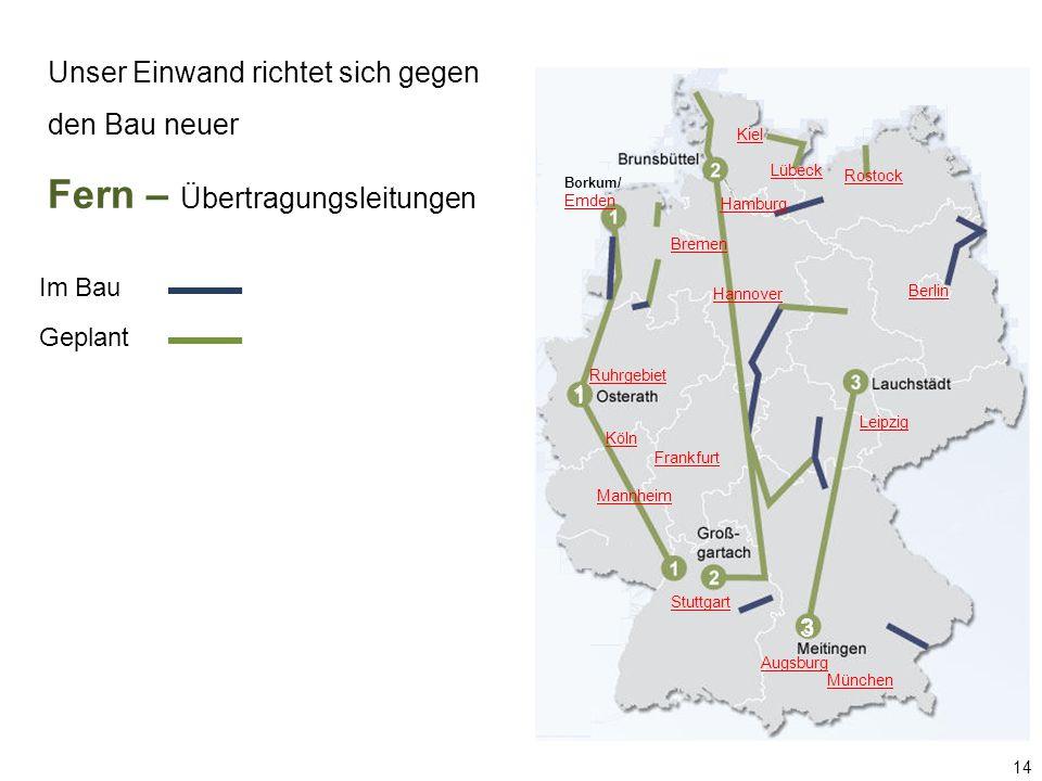 Borkum/ Emden Hamburg Lübeck Berlin Augsburg München Kiel Rostock Ruhrgebiet Hannover Mannheim Frankfurt Leipzig Stuttgart Köln 1 3 Bremen Unser Einwand richtet sich gegen den Bau neuer Fern – Übertragungsleitungen 14 Im Bau Geplant