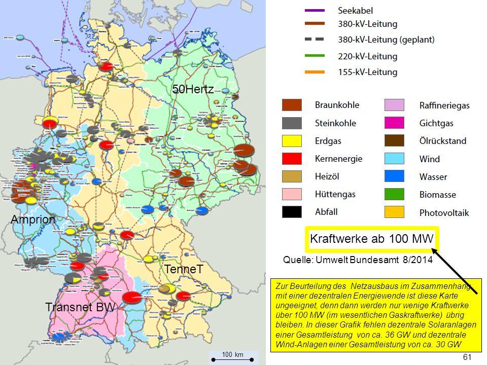 61 Zur Beurteilung des Netzausbaus im Zusammenhang mit einer dezentralen Energiewende ist diese Karte ungeeignet, denn dann werden nur wenige Kraftwerke über 100 MW (im wesentlichen Gaskraftwerke) übrig bleiben.
