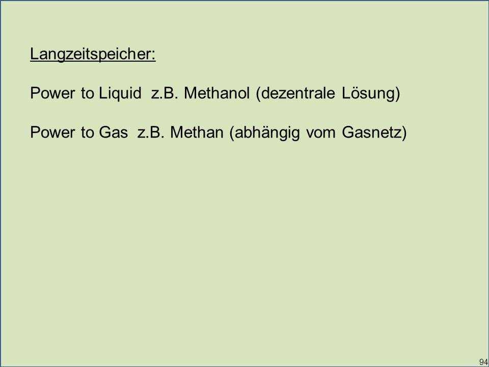 94 Langzeitspeicher: Power to Liquid z.B.Methanol (dezentrale Lösung) Power to Gas z.B.