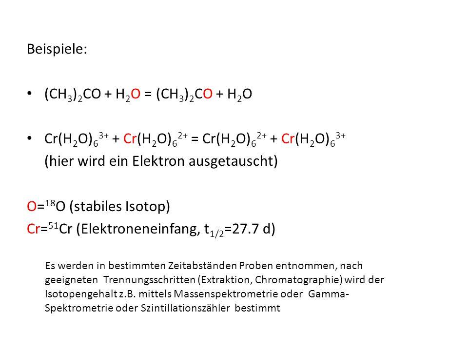 Beispiele: (CH 3 ) 2 CO + H 2 O = (CH 3 ) 2 CO + H 2 O Cr(H 2 O) 6 3+ + Cr(H 2 O) 6 2+ = Cr(H 2 O) 6 2+ + Cr(H 2 O) 6 3+ (hier wird ein Elektron ausge