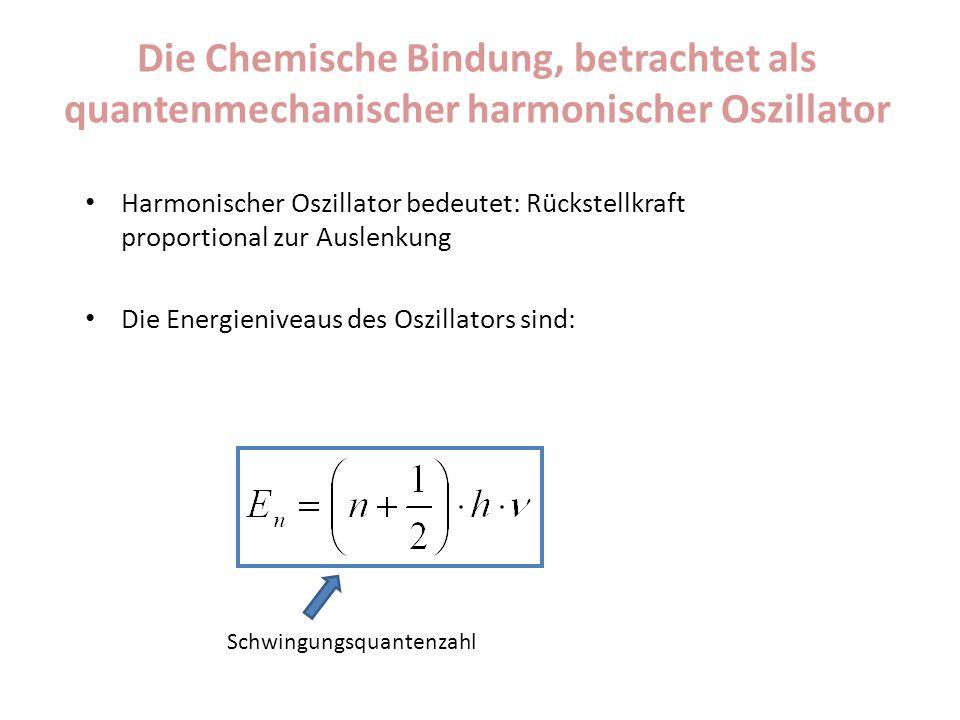 Die Chemische Bindung, betrachtet als quantenmechanischer harmonischer Oszillator Harmonischer Oszillator bedeutet: Rückstellkraft proportional zur Au