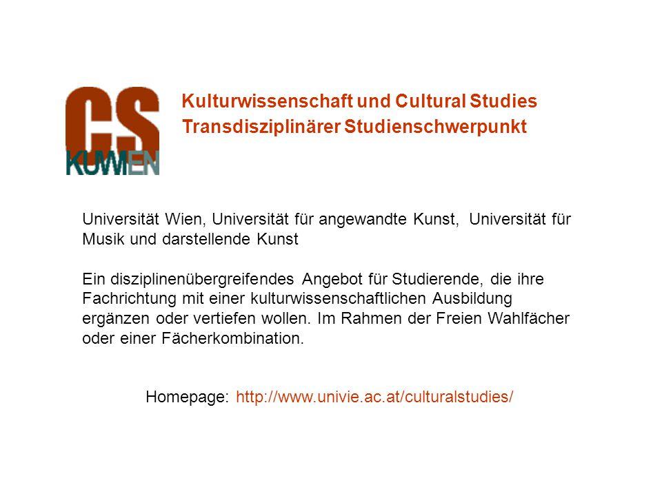 Universität Wien, Universität für angewandte Kunst, Universität für Musik und darstellende Kunst Ein disziplinenübergreifendes Angebot für Studierende