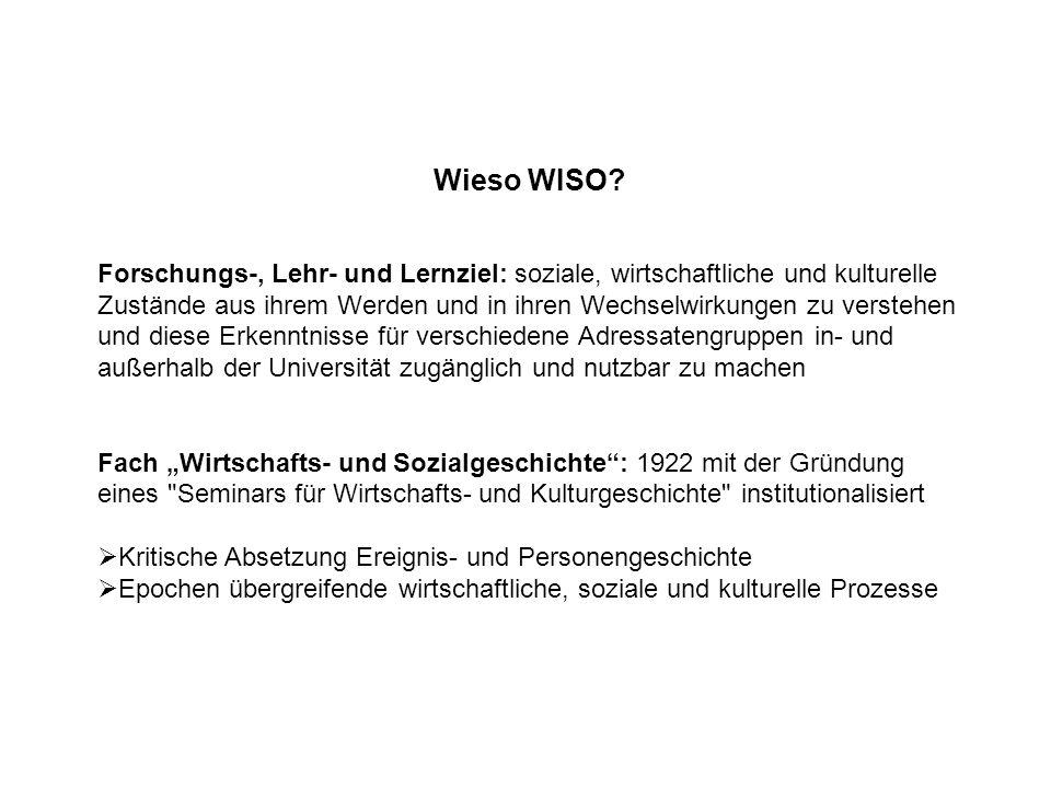 Wieso WISO? Forschungs-, Lehr- und Lernziel: soziale, wirtschaftliche und kulturelle Zustände aus ihrem Werden und in ihren Wechselwirkungen zu verste