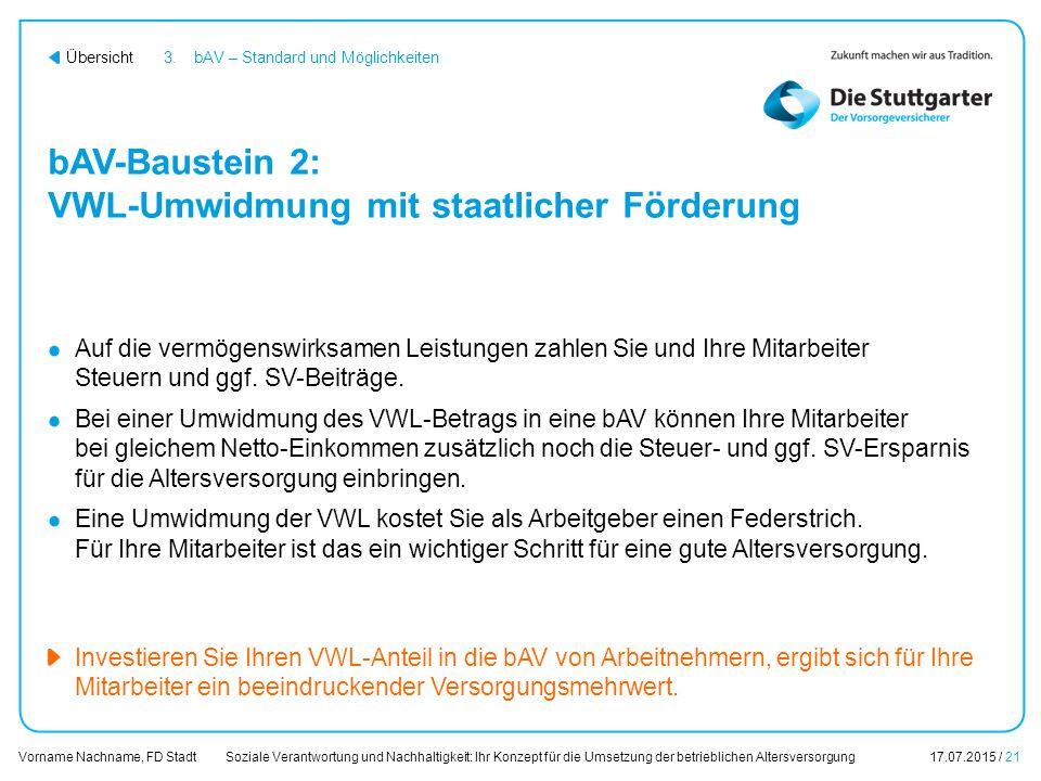 Soziale Verantwortung und Nachhaltigkeit: Ihr Konzept für die Umsetzung der betrieblichen Altersversorgung17.07.2015 / 21 Vorname Nachname, FD Stadt Ü