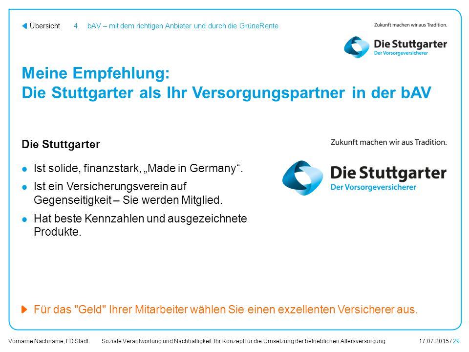 Soziale Verantwortung und Nachhaltigkeit: Ihr Konzept für die Umsetzung der betrieblichen Altersversorgung17.07.2015 / 29 Vorname Nachname, FD Stadt Ü
