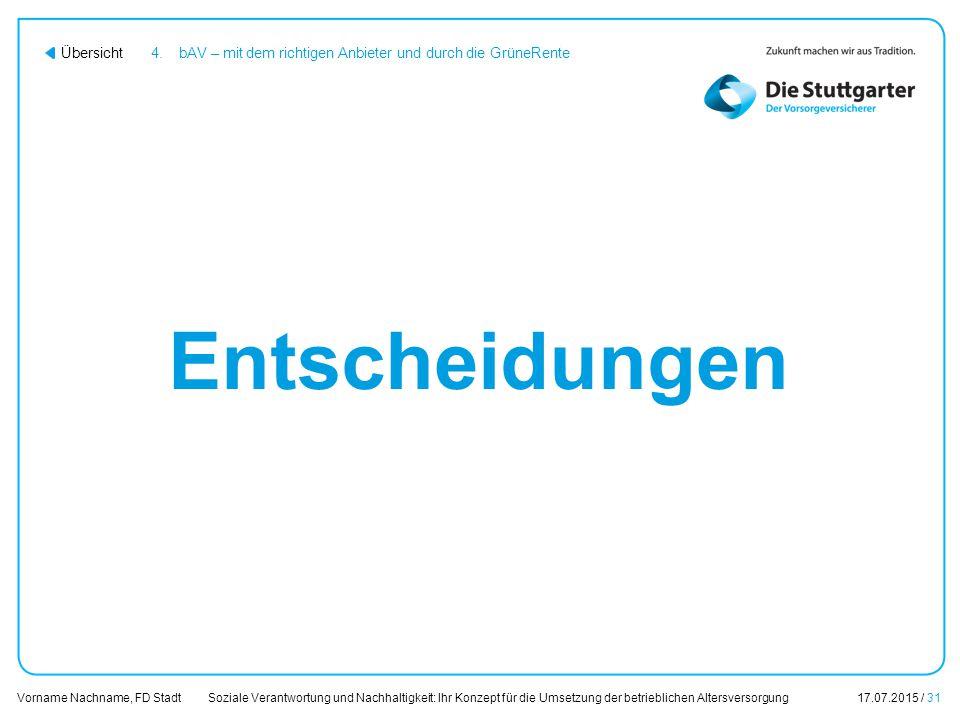 Soziale Verantwortung und Nachhaltigkeit: Ihr Konzept für die Umsetzung der betrieblichen Altersversorgung17.07.2015 / 31 Vorname Nachname, FD Stadt Ü