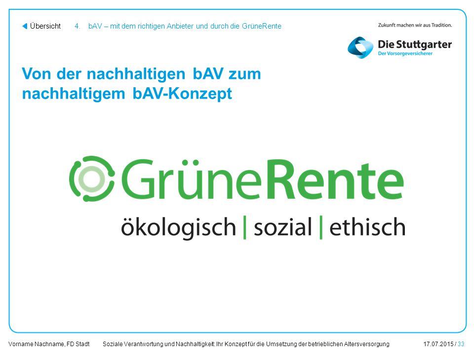 Soziale Verantwortung und Nachhaltigkeit: Ihr Konzept für die Umsetzung der betrieblichen Altersversorgung17.07.2015 / 33 Vorname Nachname, FD Stadt Ü