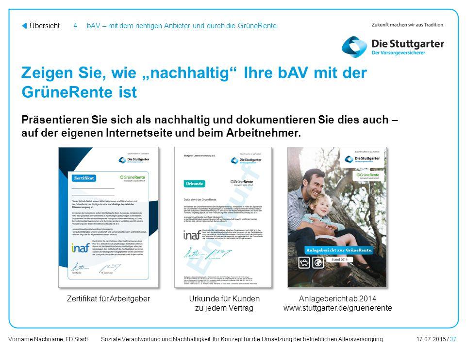 Soziale Verantwortung und Nachhaltigkeit: Ihr Konzept für die Umsetzung der betrieblichen Altersversorgung17.07.2015 / 37 Vorname Nachname, FD Stadt Ü