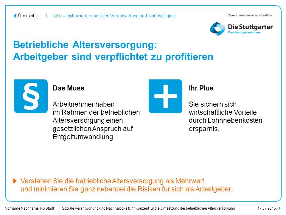 Soziale Verantwortung und Nachhaltigkeit: Ihr Konzept für die Umsetzung der betrieblichen Altersversorgung17.07.2015 / 4 Vorname Nachname, FD Stadt Üb