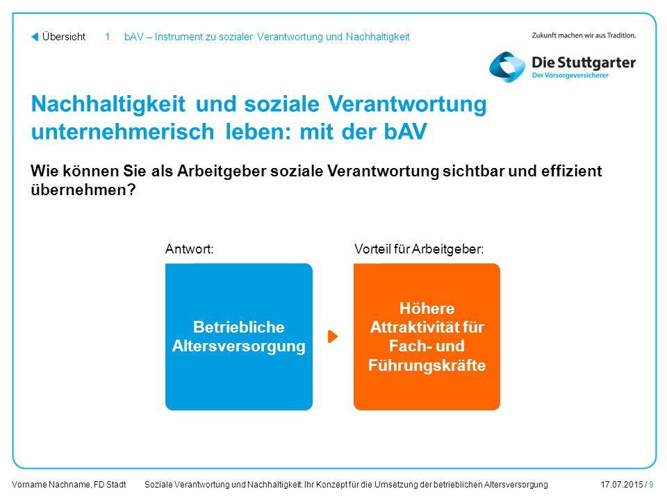 Soziale Verantwortung und Nachhaltigkeit: Ihr Konzept für die Umsetzung der betrieblichen Altersversorgung17.07.2015 / 9 Vorname Nachname, FD Stadt Üb