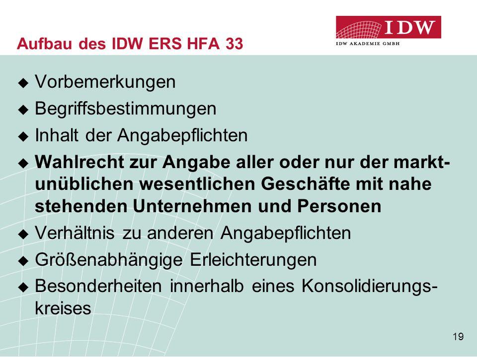19 Aufbau des IDW ERS HFA 33  Vorbemerkungen  Begriffsbestimmungen  Inhalt der Angabepflichten  Wahlrecht zur Angabe aller oder nur der markt- unü